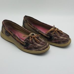 Sperry Top-Sider Boat Shoes Brown Pink Plaid 8.5M